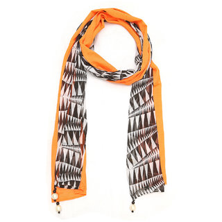 Grishti Orange Printed Georgette Womens Stole