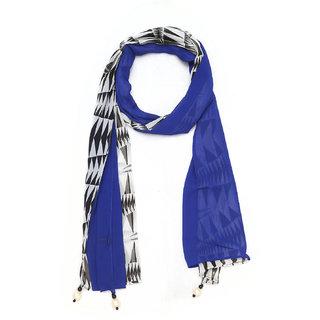 Grishti Royal Blue Printed Georgette Womens Stole