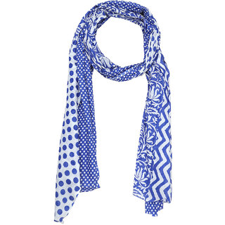 Grishti Royal Blue Muslin Cotton Printed Womens Stole