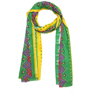 Grishti Green Muslin Cotton Printed Womens Stole