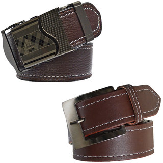 Sunshopping men's brown leatherite needle pin point buckle with brown leatherite auto lock buckle belts combo (Pack of two) (Synthetic leather/Rexine)