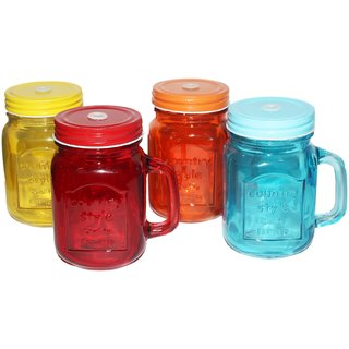 JADES Orange-Red-Yellow-Blue Glass Material Round Shape Kitchen Dcor Jars