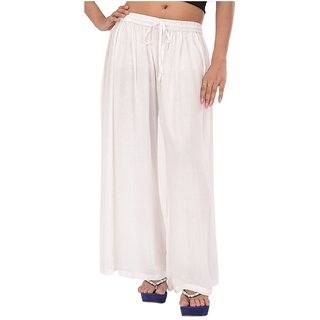 Evection Trendy Rayon Cotton Palazzo Pant - White