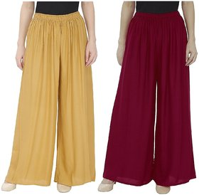 Evection Trendy Rayon Cotton Palazzo Pant Set of 2 - Beige  Maroon