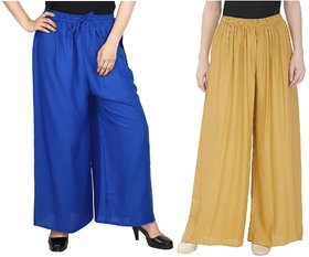 Evection Trendy Rayon Cotton Palazzo Pant Set of 2 - Beige  Blue