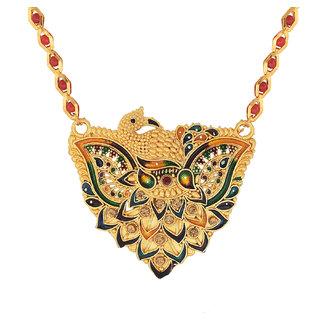 Memoir Gold plated Meenakari, Peacock design inspired Stylish wedding Mangalsutra Tradtional Women Latest fashion