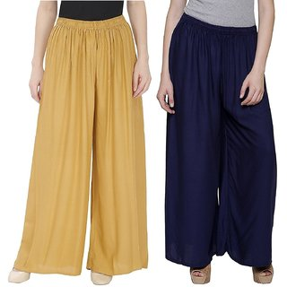Evection Trendy Rayon Cotton Palazzo Pant Set Of 2   Beige Navy Blue