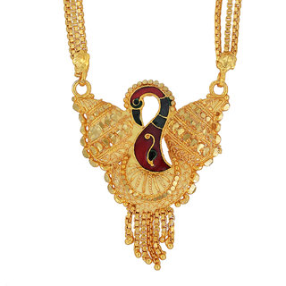 Memoir Gold plated Meenakari Peacock design Big and stylish Mangalsutra Women Traditional fashion