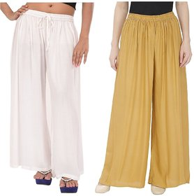 Evection Trendy Rayon Cotton Palazzo Pant Set of 2 - Beige  White