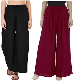 Evection Trendy Rayon Cotton Palazzo Pant Set of 2 - Black  Maroon