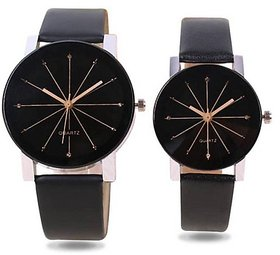 Varni Retail Black Crystal Style Unique Couple Watch For Men And Women Combo 6 month warranty