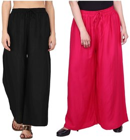 Evection Trendy Rayon Cotton Palazzo Pant Set of 2 - Black  Pink