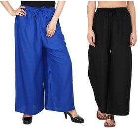 Evection Trendy Rayon Cotton Palazzo Pant Set of 2 - Black  Blue