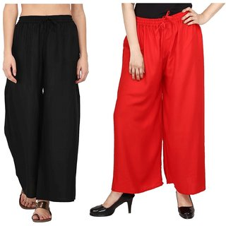 Evection Trendy Rayon Cotton Palazzo Pant Set of 2 - Black  Red