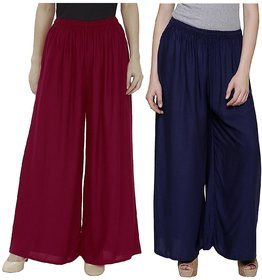 Evection Trendy Rayon Cotton Palazzo Pant Set of 2 - Maroon and Navy-Blue