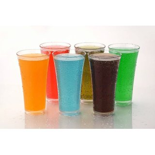 SELL ON 6 Pcs. Unbreakable Stylish Transparent Glass Set  ABS Poly Carbonate Plastic