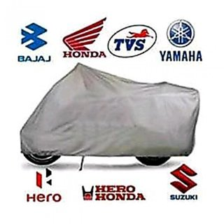 Autoplus Universal Polyester Water Proof Bike Body Cover With Mirror Pockets (Silver)