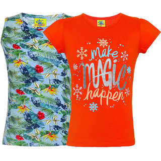 Punkster 100% Cotton Floral Print T-Shirt Combo For Girls(3110-2)