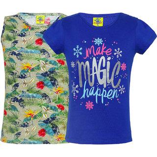 Punkster 100% Cotton Multi Colour Floral Print T-Shirt Combo For Girls(3111-2)