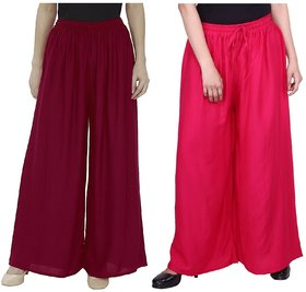 Evection Trendy Rayon Cotton Palazzo Pant Set of 2 - Maroon and Pink