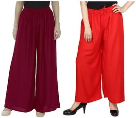 Evection Trendy Rayon Cotton Palazzo Pant Set of 2 - Maroon and Red