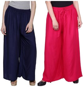 Evection Trendy Rayon Cotton Palazzo Pant Set of 2 - Pink and Navy-Blue