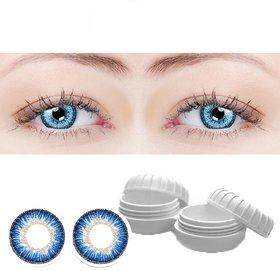 TruOm Blue Colour Monthly(Zero Power) Contact Lens Pair
