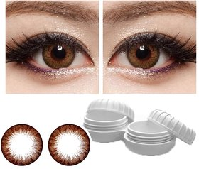 TruOm Brown Colour Monthly(Zero Power) Contact Lens Pair