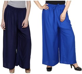 Evection Trendy Rayon Cotton Palazzo Pant Set of 2 - Blue and Navy-Blue