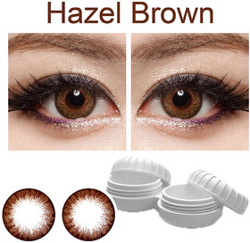TruOm Hazel Brown Colour Monthly(Zero Power) Contact Lens Pair