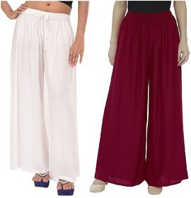 Evection Trendy Rayon Cotton Palazzo Pant Set of 2 - White and Navy-Blue