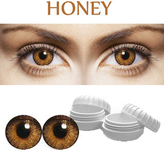 TruOm Honey Colour Monthly(Zero Power) Contact Lens Pair