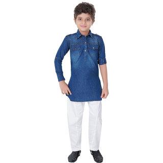 Abc Garments Blue Denim Pathani For Kid