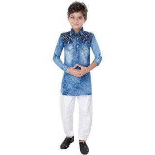 Abc Garments Blue Denim Pathani For Kids