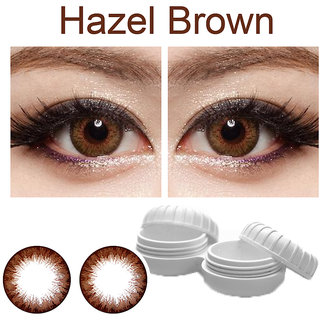 TruOm Hazel Brown Colour Monthly(Zero Power) Contact Lens