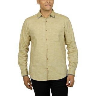 0f435304c316b9 KACLFS1218 - Kuons Avenue Men s Slim Fit Dark Beige Self Weave Cotton Silk  Traditional Casual Party Shirt