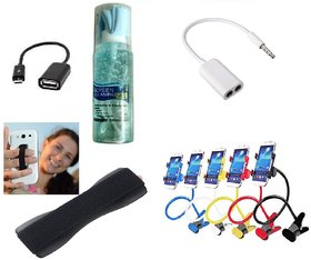 (L5) Lazy Stand, Finger Grip, OTG Cable, Cleaning Spray and Splitter Cable (Assorted Colors)