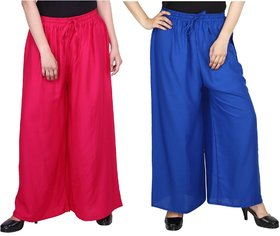 Evection Trendy Rayon Cotton Palazzo Pant Set of 2 - Pink and Blue