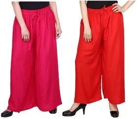 Evection Trendy Rayon Cotton Palazzo Pant Set of 2 - Pink and Red