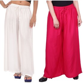 Evection Trendy Rayon Cotton Palazzo Pant Set of 2 - Pink and White