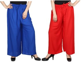 Evection Trendy Rayon Cotton Palazzo Pant Set of 2 - Red and Blue