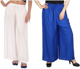 Evection Trendy Rayon Cotton Palazzo Pant Set of 2 - Blue and White