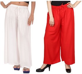 Evection Trendy Rayon Cotton Palazzo Pant Set of 2 - Red and White