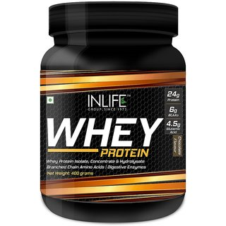 INLIFE Whey Protein Powder blend of Isolate Hydrolysate Bodybuilding Supplement - 400 g/0.8 lb (Chocolate Flavour)