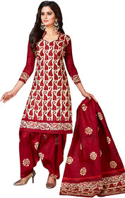 Jevi Prints Women's Unstitched Cotton Red Paisley  Printed Salwar Suit Dupatta Material