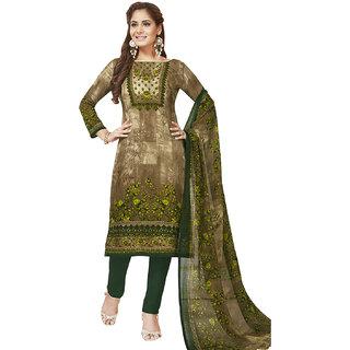4c163b36ac Jevi Prints Women's Unstitched Synthetic Crepe Brown & Green Kalamkari Printed  Salwar Suit Dupatta Material