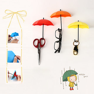 SNR 3Pcs Colorful Umbrella Shape Wall Hook Small Decorative Objects