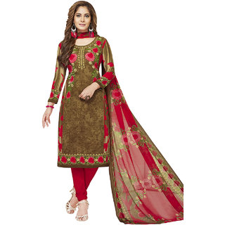 Jevi Prints Women's Unstitched Synthetic Crepe Brown & Red Floral Printed Salwar Suit Dupatta Material