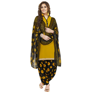 Jevi Prints Women's Unstitched Synthetic Crepe Yellow & Black Floral Printed Salwar Suit Dupatta Material