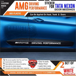 AMG Driving Performance - Stickers for Tata Nexon - White - CarMetics